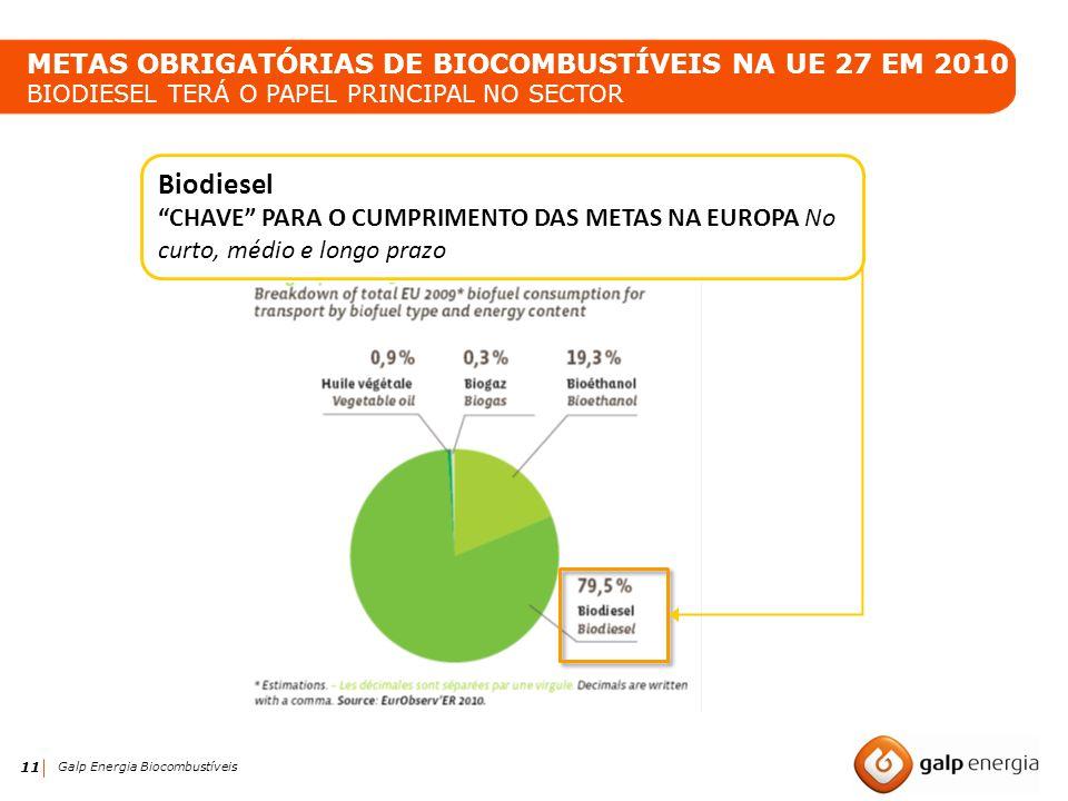 11 Galp Energia Biocombustíveis Biodiesel CHAVE PARA O CUMPRIMENTO DAS METAS NA EUROPA No curto, médio e longo prazo METAS OBRIGATÓRIAS DE BIOCOMBUSTÍ
