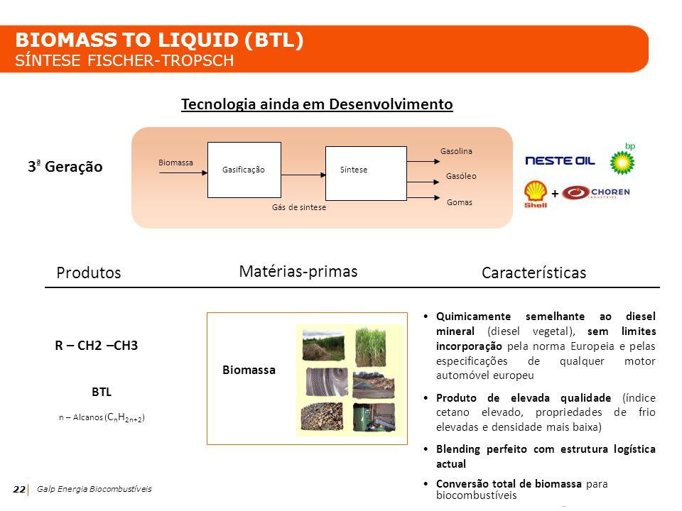 22 Galp Energia Biocombustíveis BIOMASS TO LIQUID (BTL) SÍNTESE FISCHER-TROPSCH Tecnologia ainda em Desenvolvimento BTL n – Alcanos ( C n H 2n+2 ) R –