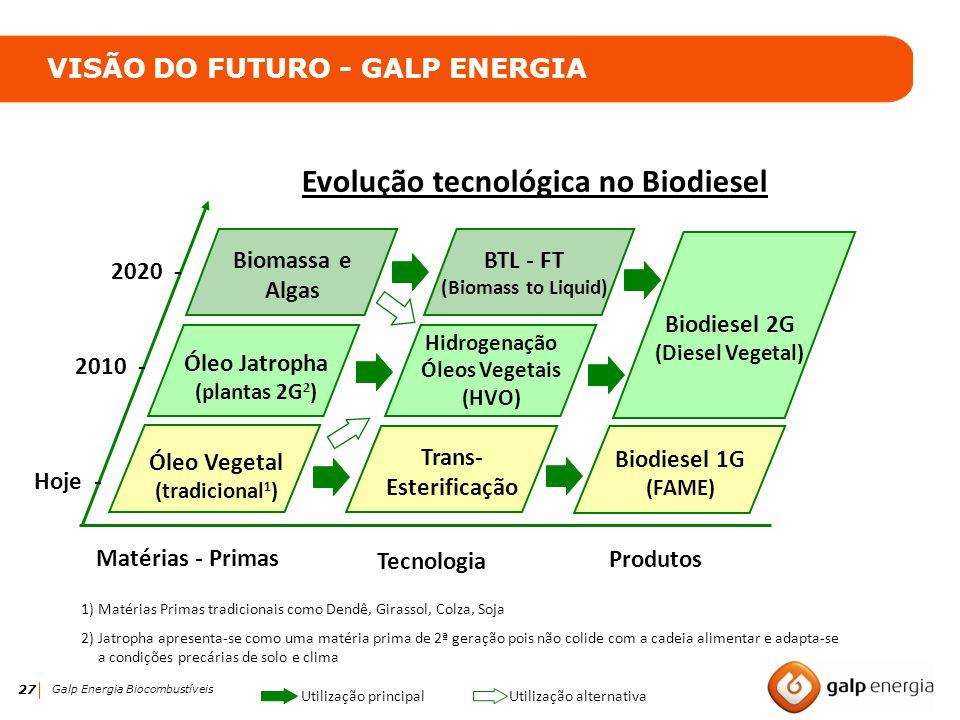 27 Galp Energia Biocombustíveis Utilização alternativa Utilização principal 1)Matérias Primas tradicionais como Dendê, Girassol, Colza, Soja 2)Jatroph