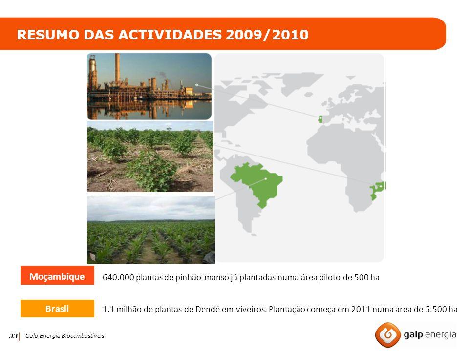 33 Galp Energia Biocombustíveis Brasil 640.000 plantas de pinhão-manso já plantadas numa área piloto de 500 ha RESUMO DAS ACTIVIDADES 2009/2010 1.1 mi