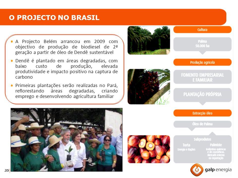 35 Galp Energia Biocombustíveis O PROJECTO NO BRASIL A Projecto Belém arrancou em 2009 com objectivo de produção de biodiesel de 2ª geração a partir d