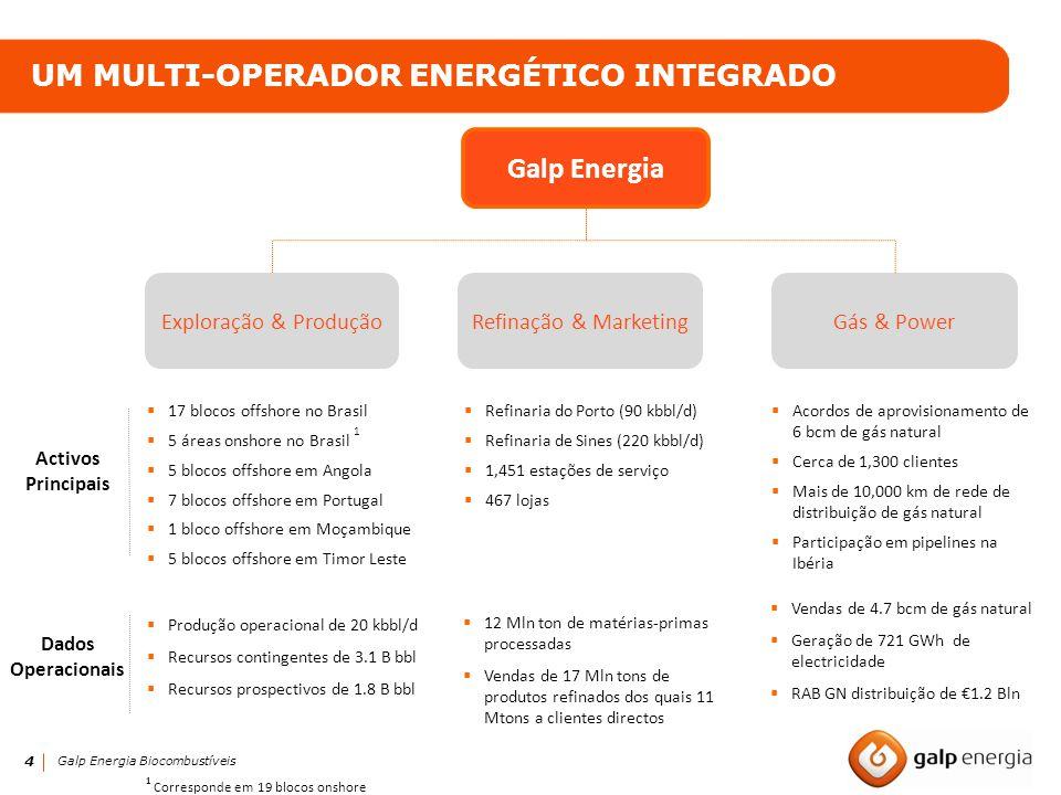 4 UM MULTI-OPERADOR ENERGÉTICO INTEGRADO Exploração & Produção 17 blocos offshore no Brasil 5 áreas onshore no Brasil 1 5 blocos offshore em Angola 7