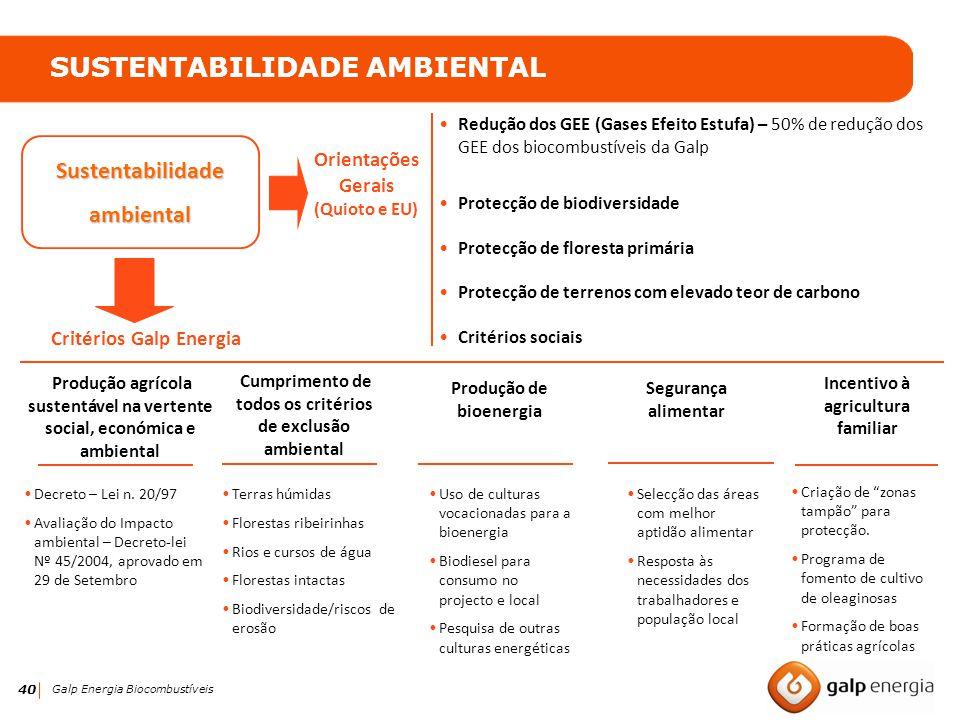 40 Galp Energia Biocombustíveis Sustentabilidadeambiental SUSTENTABILIDADE AMBIENTAL Produção agrícola sustentável na vertente social, económica e amb