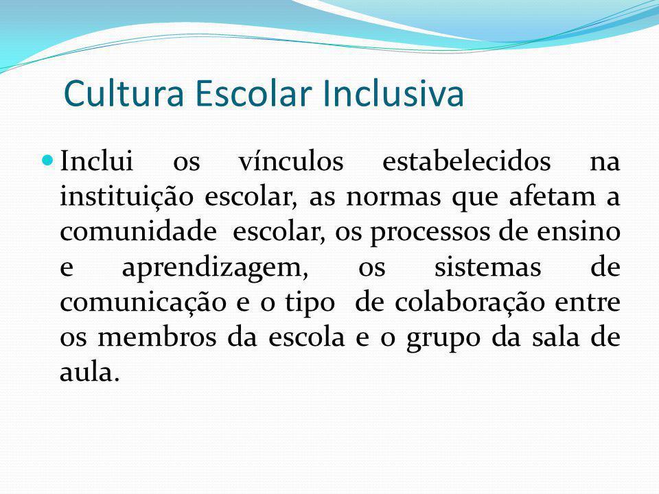 Cultura Escolar Inclusiva Inclui os vínculos estabelecidos na instituição escolar, as normas que afetam a comunidade escolar, os processos de ensino e
