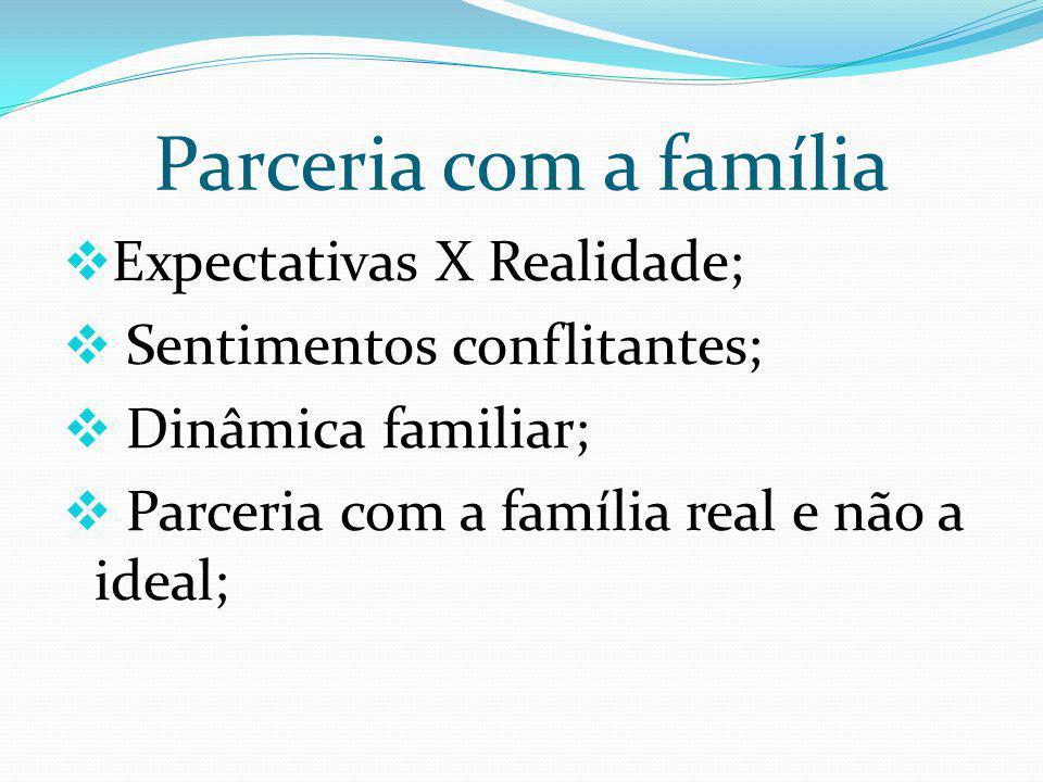 Parceria com a família Expectativas X Realidade; Sentimentos conflitantes; Dinâmica familiar; Parceria com a família real e não a ideal;