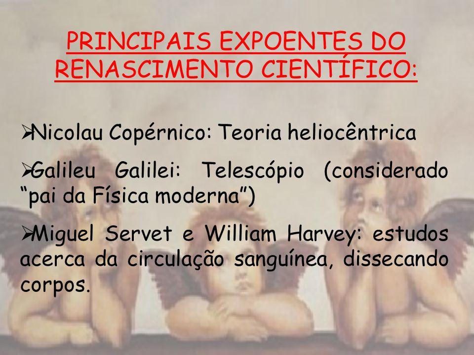 PRINCIPAIS EXPOENTES DO RENASCIMENTO CIENTÍFICO: Nicolau Copérnico: Teoria heliocêntrica Galileu Galilei: Telescópio (considerado pai da Física modern