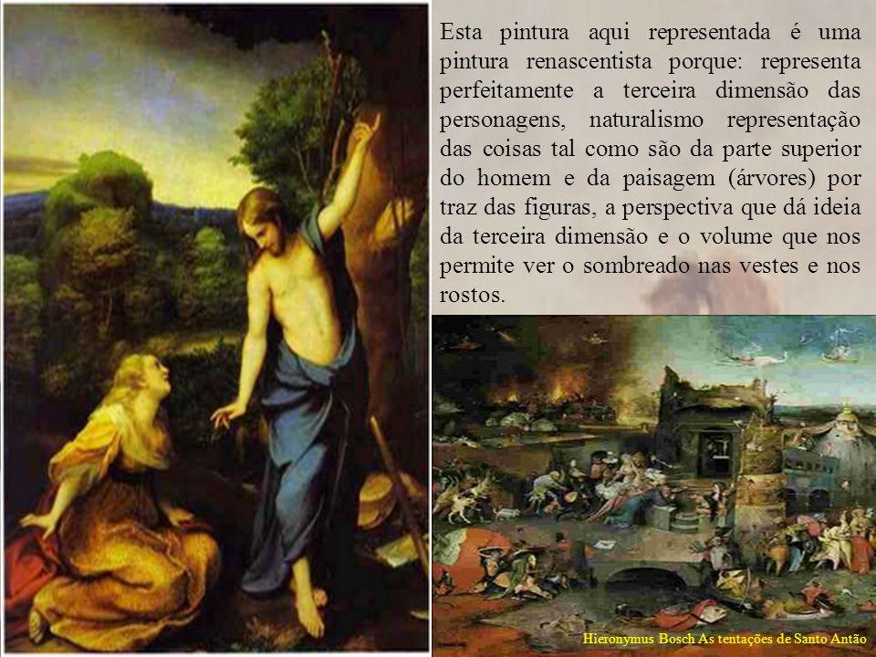 Esta pintura aqui representada é uma pintura renascentista porque: representa perfeitamente a terceira dimensão das personagens, naturalismo represent
