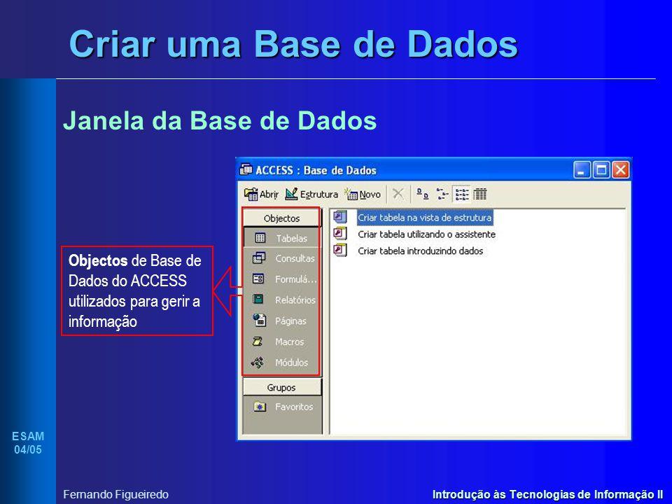 Introdução às Tecnologias de Informação II ESAM 04/05 Fernando Figueiredo Criar uma Base de Dados Janela da Base de Dados Objectos de Base de Dados do