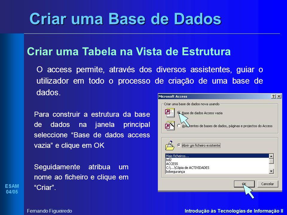 Introdução às Tecnologias de Informação II ESAM 04/05 Fernando Figueiredo Criar uma Base de Dados Criar uma Tabela na Vista de Estrutura O access perm