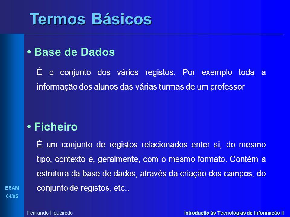 Introdução às Tecnologias de Informação II ESAM 04/05 Fernando Figueiredo Criar uma Base de Dados Chave Primária Depois de ter completado a estrutura da sua tabela e editado os campos que pretendia, deve definir qual será o campo ou combinação de campos a ter a Chave Primária.