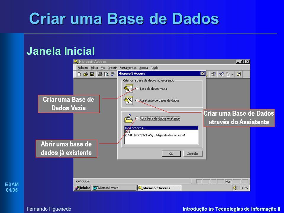 Introdução às Tecnologias de Informação II ESAM 04/05 Fernando Figueiredo Criar uma Base de Dados Janela da Base de Dados Objectos de Base de Dados do ACCESS utilizados para gerir a informação