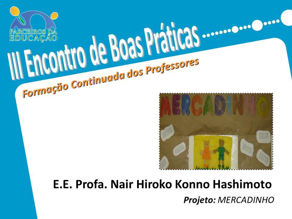 Formação Continuada dos Professores Projeto: MERCADINHO Inserir aqui foto da escola, ou foto referente ao projeto. Preferencialmente uma foto relacion