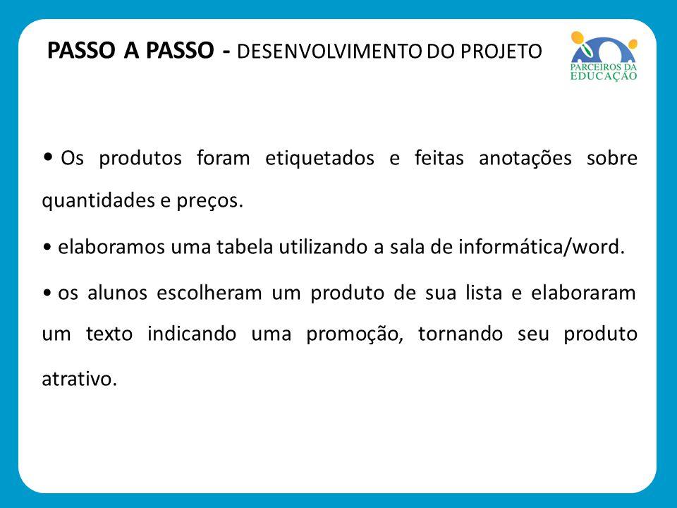 PASSO A PASSO - DESENVOLVIMENTO DO PROJETO Os produtos foram etiquetados e feitas anotações sobre quantidades e preços.