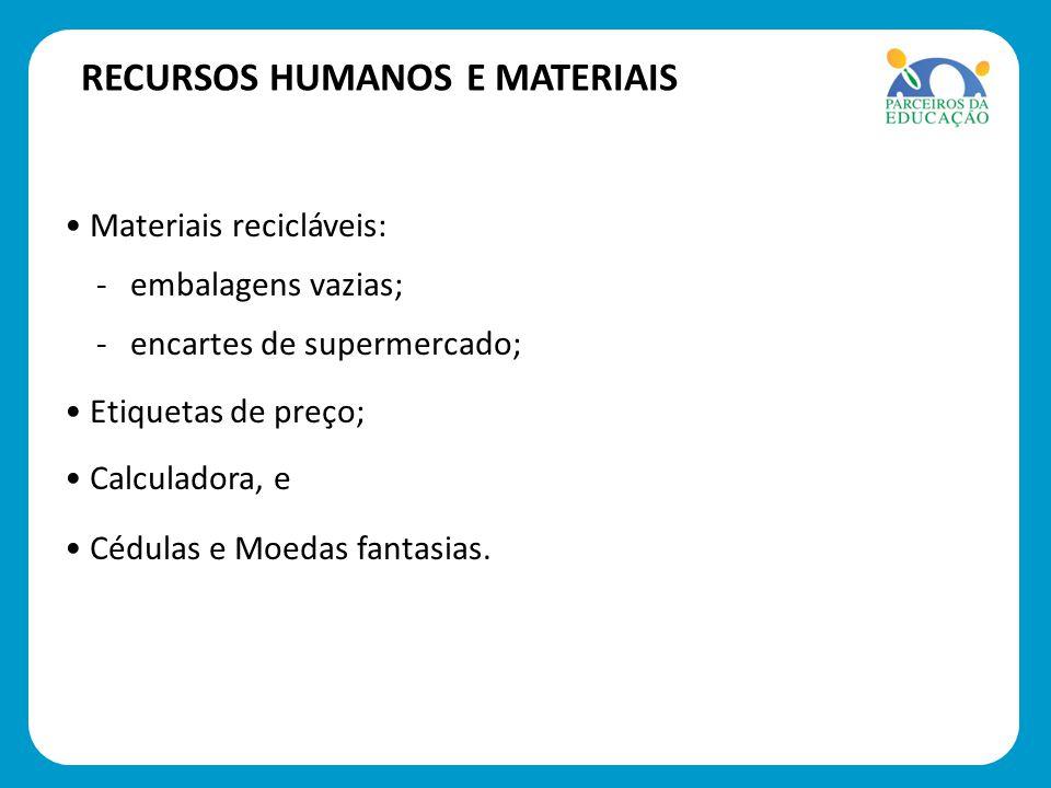 Materiais recicláveis: Materiais recicláveis: - embalagens vazias; - embalagens vazias; - encartes de supermercado; - encartes de supermercado; Etique