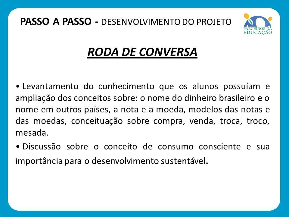 RODA DE CONVERSA Levantamento do conhecimento que os alunos possuíam e ampliação dos conceitos sobre: o nome do dinheiro brasileiro e o nome em outros