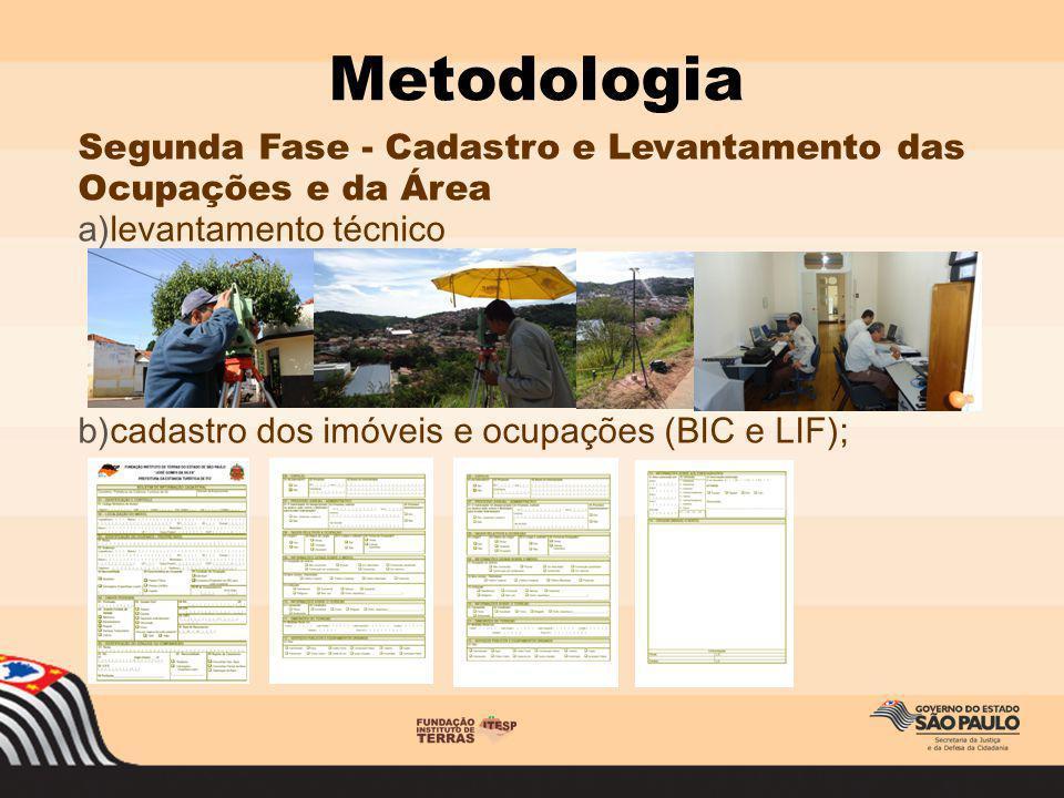 Segunda Fase - Cadastro e Levantamento das Ocupações e da Área a)levantamento técnico b)cadastro dos imóveis e ocupações (BIC e LIF); Metodologia