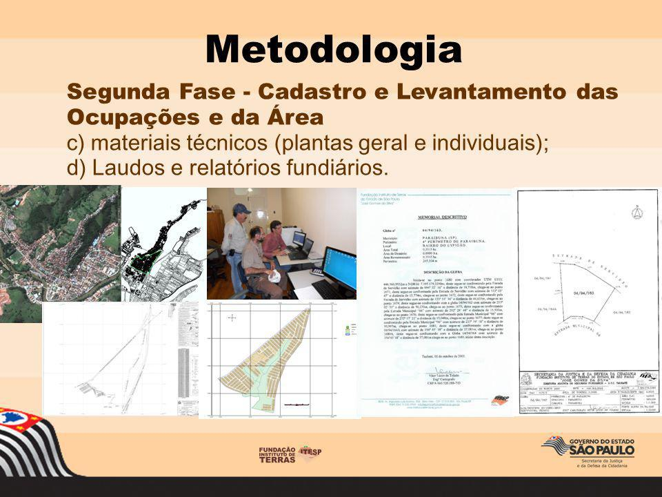 Segunda Fase - Cadastro e Levantamento das Ocupações e da Área c) materiais técnicos (plantas geral e individuais); d) Laudos e relatórios fundiários.