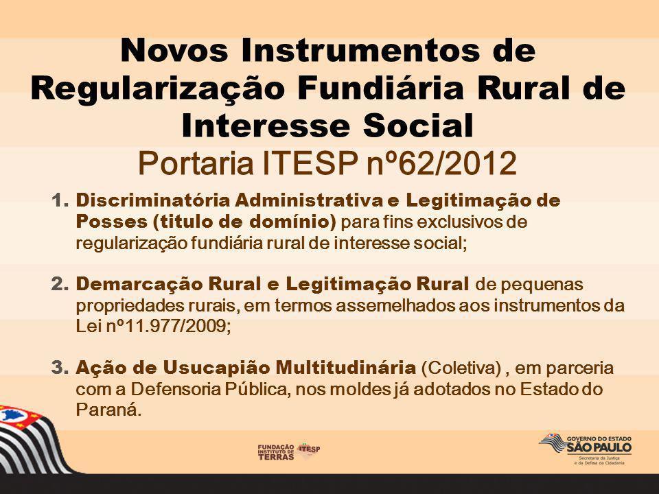 Novos Instrumentos de Regularização Fundiária Rural de Interesse Social Portaria ITESP nº62/2012 1.Discriminatória Administrativa e Legitimação de Pos