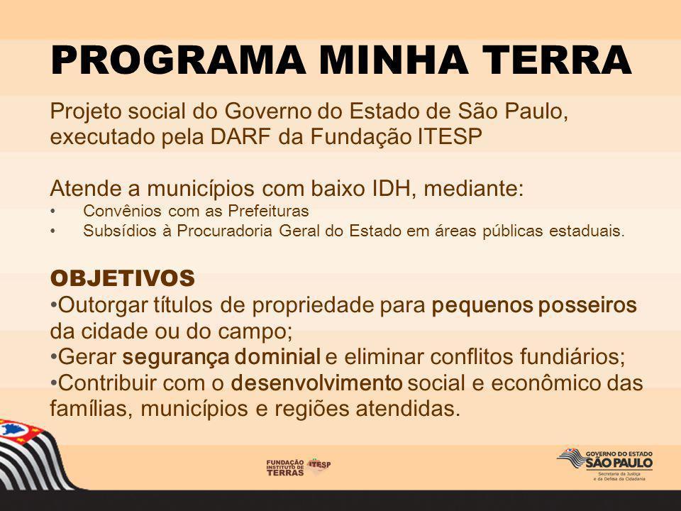 Projeto social do Governo do Estado de São Paulo, executado pela DARF da Fundação ITESP Atende a municípios com baixo IDH, mediante: Convênios com as