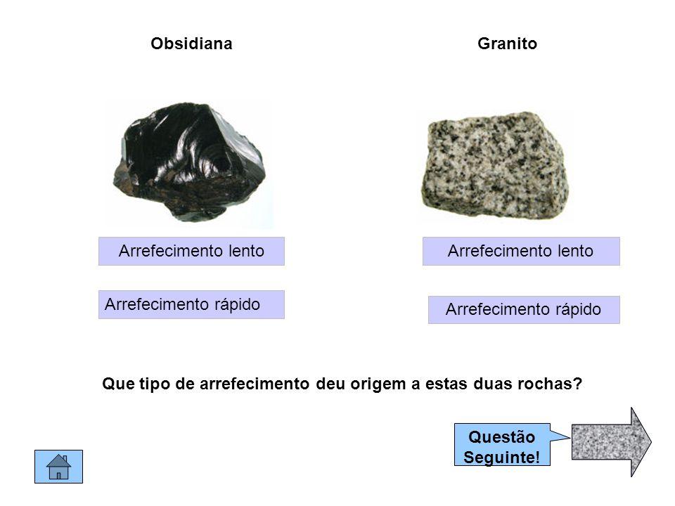 ObsidianaGranito Arrefecimento lento Arrefecimento rápido Arrefecimento lento Que tipo de arrefecimento deu origem a estas duas rochas.