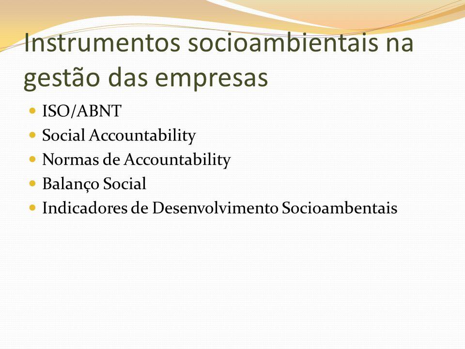Instrumentos socioambientais na gestão das empresas ISO/ABNT Social Accountability Normas de Accountability Balanço Social Indicadores de Desenvolvime