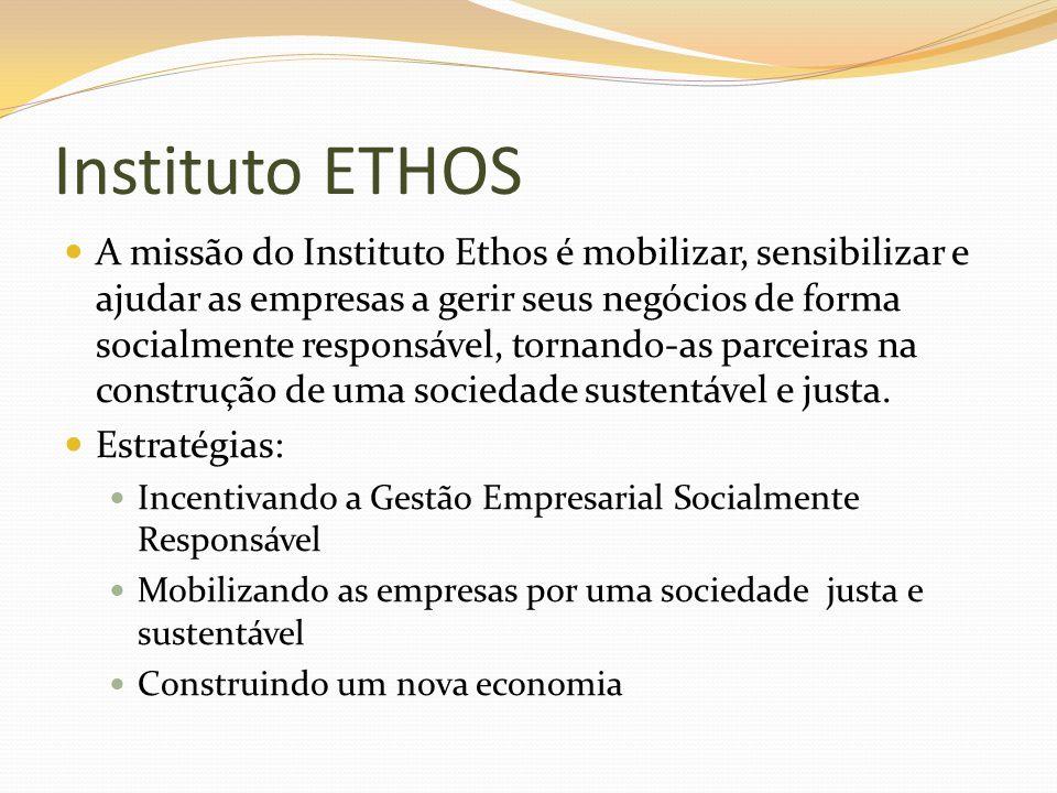 Instituto ETHOS A missão do Instituto Ethos é mobilizar, sensibilizar e ajudar as empresas a gerir seus negócios de forma socialmente responsável, tor