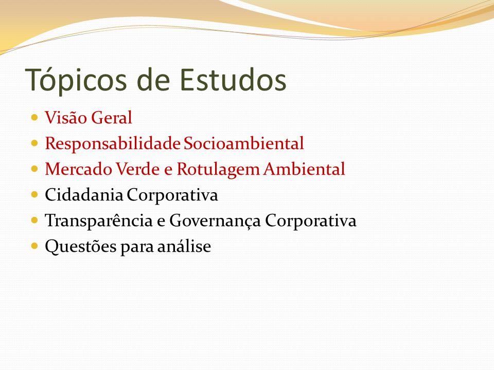 Tópicos de Estudos Visão Geral Responsabilidade Socioambiental Mercado Verde e Rotulagem Ambiental Cidadania Corporativa Transparência e Governança Co