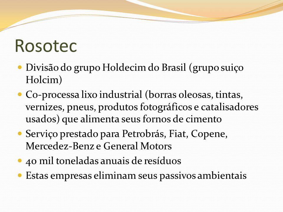 Rosotec Divisão do grupo Holdecim do Brasil (grupo suiço Holcim) Co-processa lixo industrial (borras oleosas, tintas, vernizes, pneus, produtos fotogr