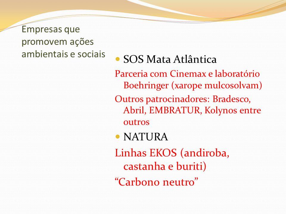 Empresas que promovem ações ambientais e sociais SOS Mata Atlântica Parceria com Cinemax e laboratório Boehringer (xarope mulcosolvam) Outros patrocin