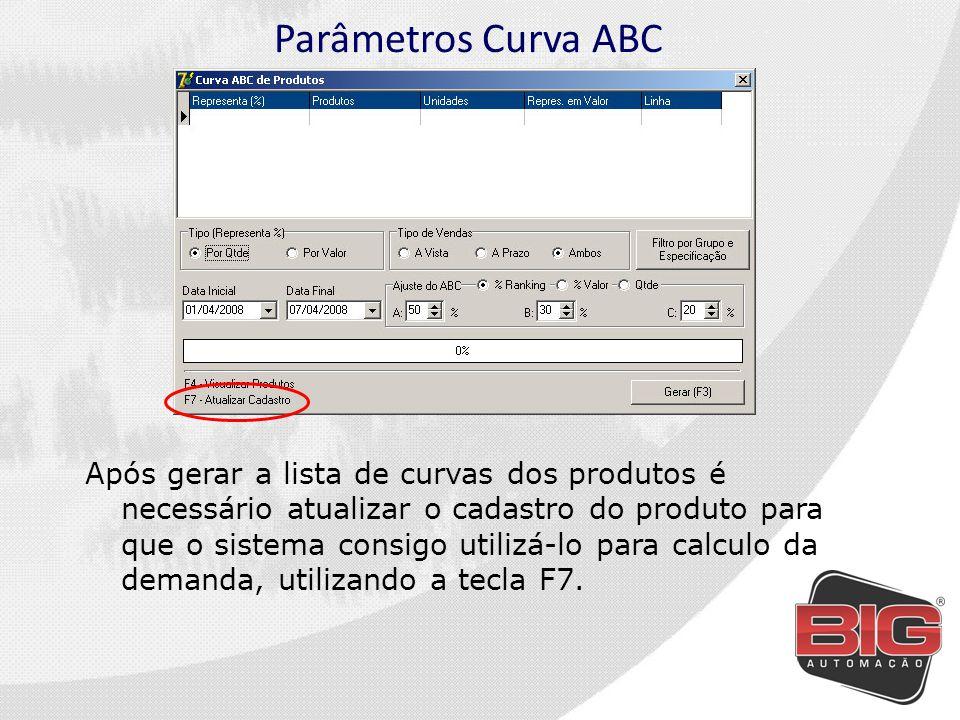 Parâmetros Curva ABC Após gerar a lista de curvas dos produtos é necessário atualizar o cadastro do produto para que o sistema consigo utilizá-lo para calculo da demanda, utilizando a tecla F7.