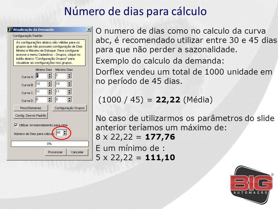 Número de dias para cálculo O numero de dias como no calculo da curva abc, é recomendado utilizar entre 30 e 45 dias para que não perder a sazonalidade.