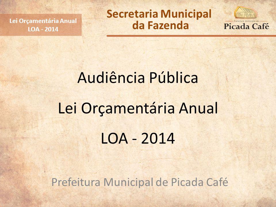 Audiência Pública Lei Orçamentária Anual LOA - 2014 Prefeitura Municipal de Picada Café Lei Orçamentária Anual LOA - 2014 Secretaria Municipal da Faze
