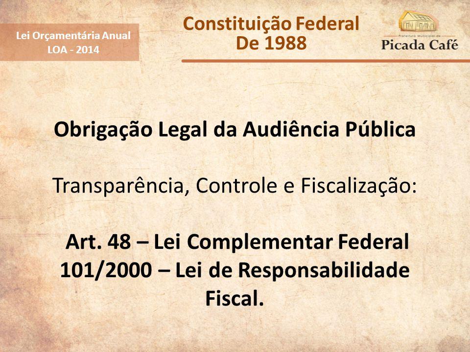 Obrigação Legal da Audiência Pública Transparência, Controle e Fiscalização: Art. 48 – Lei Complementar Federal 101/2000 – Lei de Responsabilidade Fis