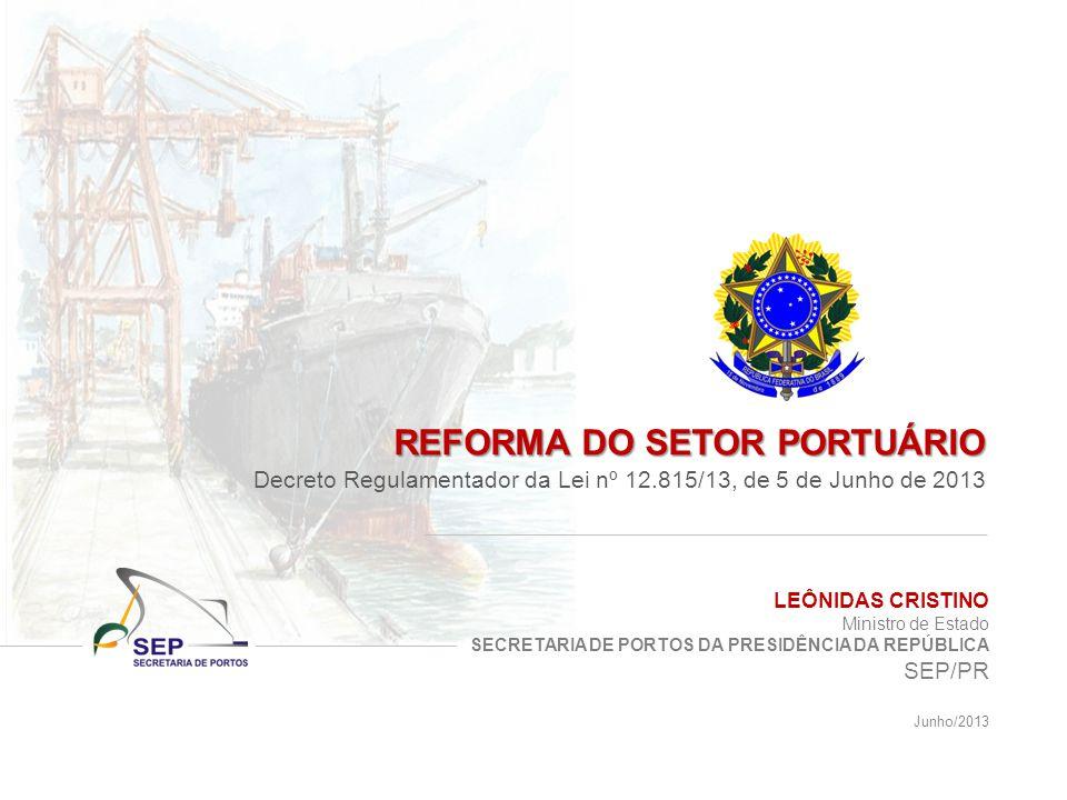 LEÔNIDAS CRISTINO Ministro de Estado SECRETARIA DE PORTOS DA PRESIDÊNCIA DA REPÚBLICA SEP/PR Junho/2013 REFORMA DO SETOR PORTUÁRIO Decreto Regulamentador da Lei nº 12.815/13, de 5 de Junho de 2013