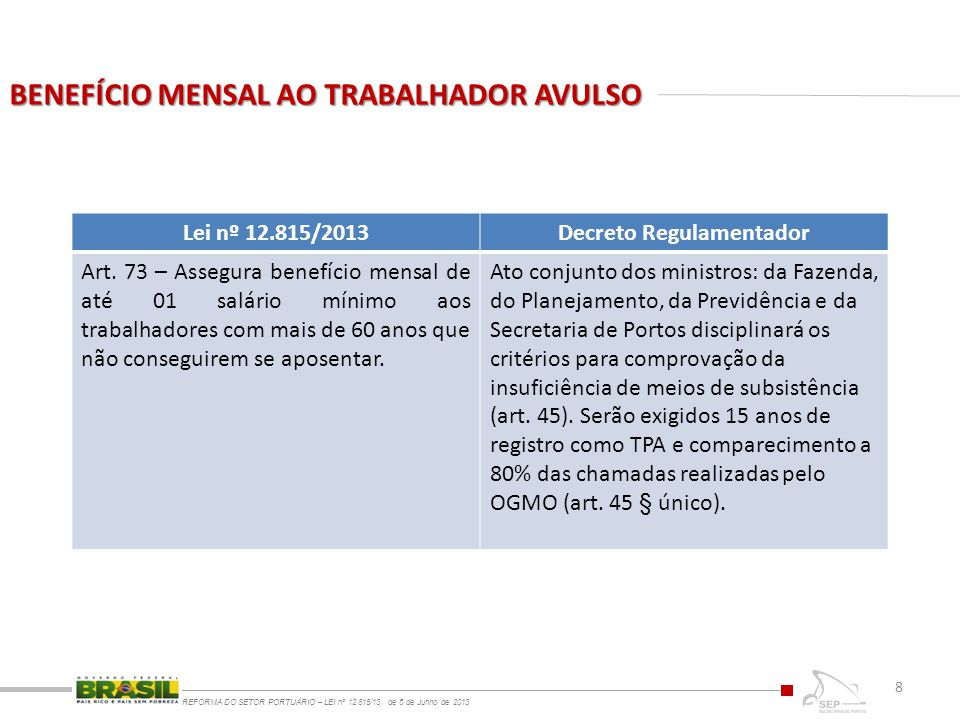 BENEFÍCIO MENSAL AO TRABALHADOR AVULSO REFORMA DO SETOR PORTUÁRIO – LEI nº 12.815/13, de 6 de Junho de 2013 8 Lei nº 12.815/2013Decreto Regulamentador Art.