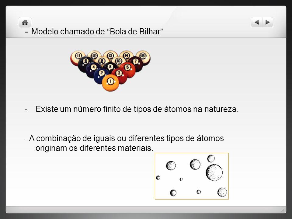 - Modelo chamado de Bola de Bilhar -Existe um número finito de tipos de átomos na natureza.