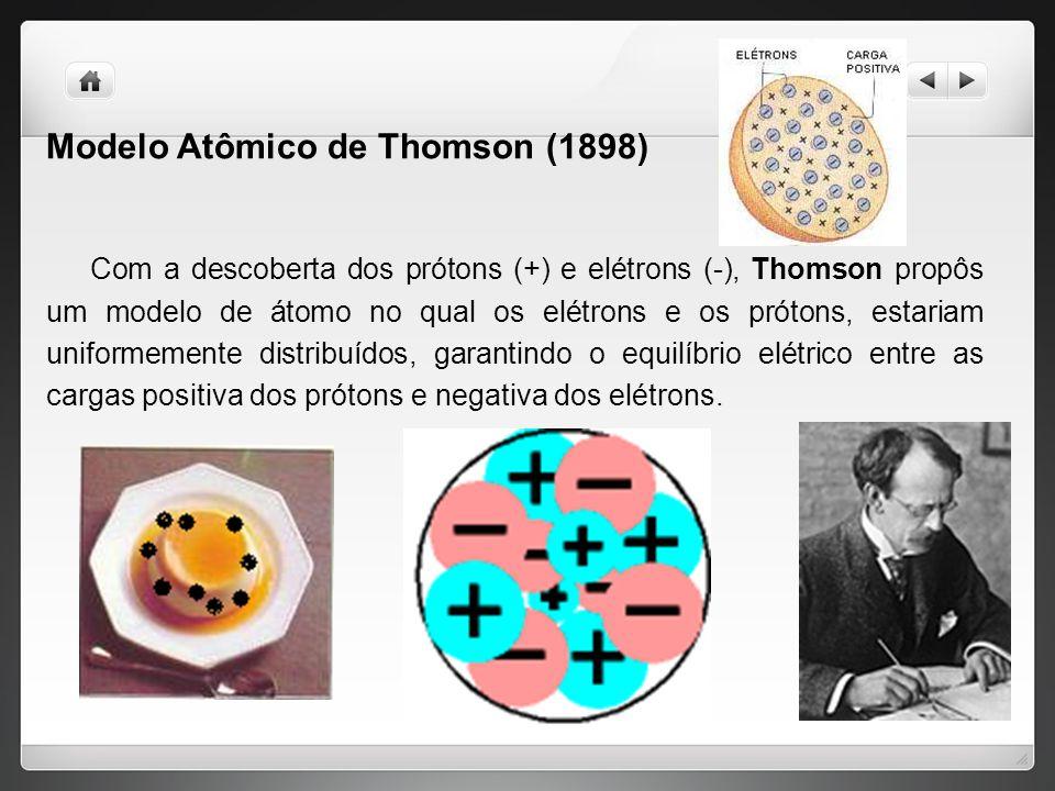Modelo Atômico de Thomson (1898) Com a descoberta dos prótons (+) e elétrons (-), Thomson propôs um modelo de átomo no qual os elétrons e os prótons, estariam uniformemente distribuídos, garantindo o equilíbrio elétrico entre as cargas positiva dos prótons e negativa dos elétrons.