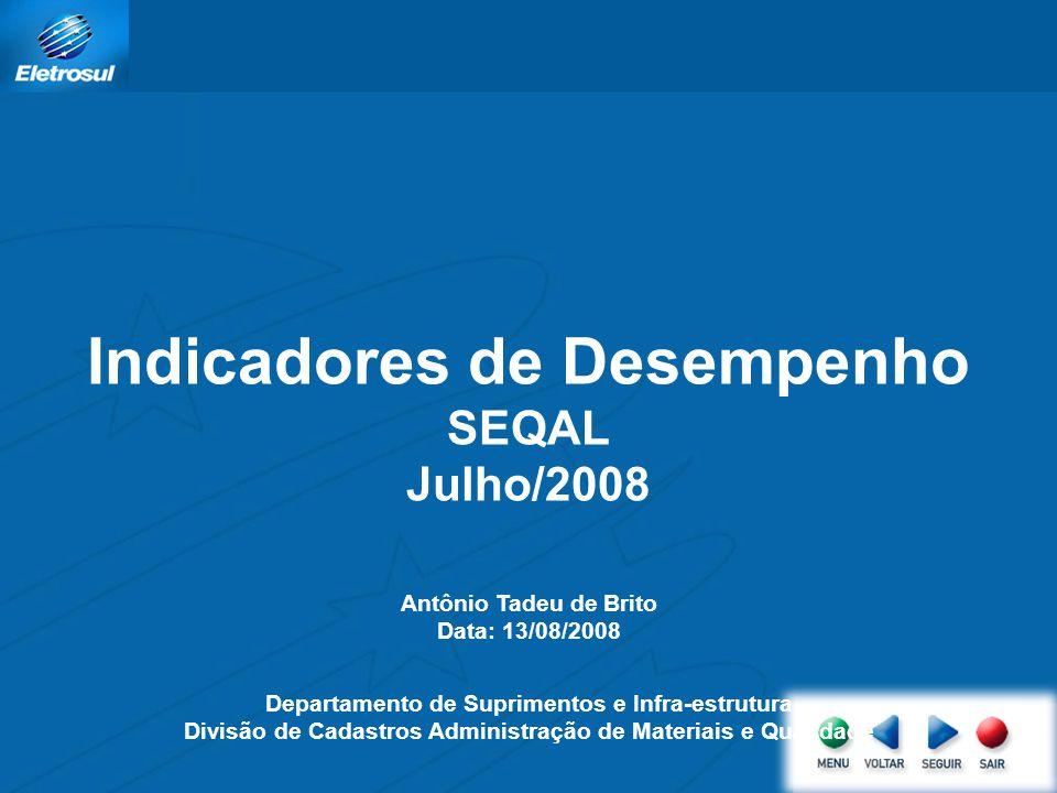 Indicadores de Desempenho SEQAL Julho/2008 Antônio Tadeu de Brito Data: 13/08/2008 Departamento de Suprimentos e Infra-estrutura Divisão de Cadastros