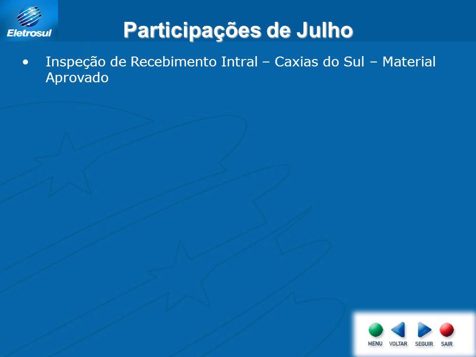 Participações de Julho Inspeção de Recebimento Intral – Caxias do Sul – Material Aprovado