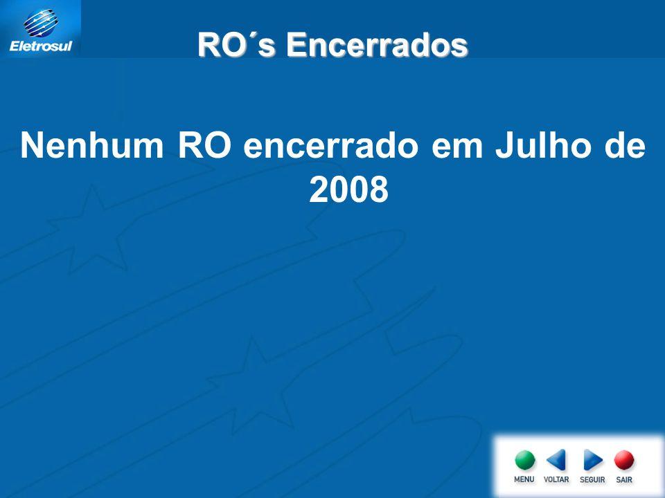 RO´s Encerrados Nenhum RO encerrado em Julho de 2008
