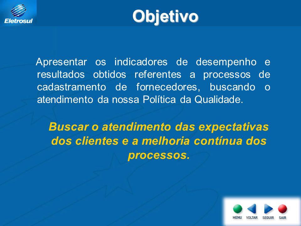 Apresentar os indicadores de desempenho e resultados obtidos referentes a processos de cadastramento de fornecedores, buscando o atendimento da nossa