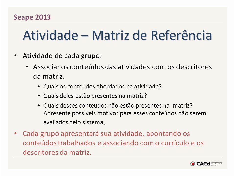 Atividade – Matriz de Referência Atividade de cada grupo: Associar os conteúdos das atividades com os descritores da matriz.