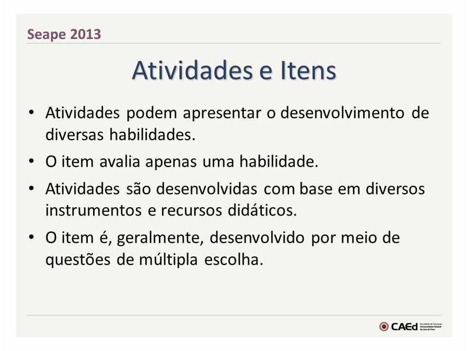 Atividades e Itens Seape 2013 Atividades podem apresentar o desenvolvimento de diversas habilidades.
