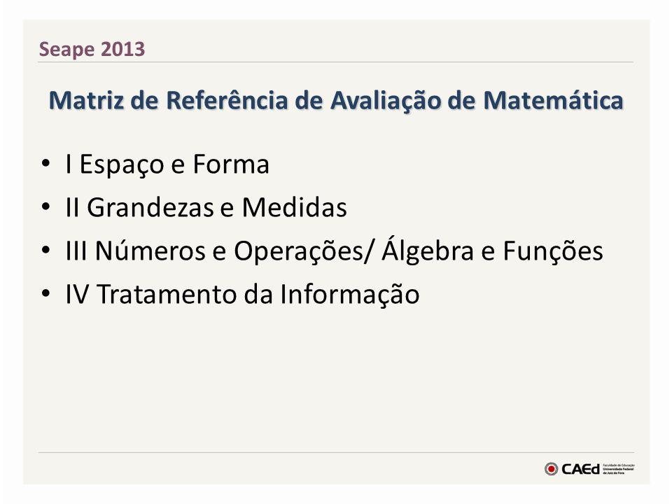 Matriz de Referência de Avaliação de Matemática I Espaço e Forma II Grandezas e Medidas III Números e Operações/ Álgebra e Funções IV Tratamento da Informação Seape 2013