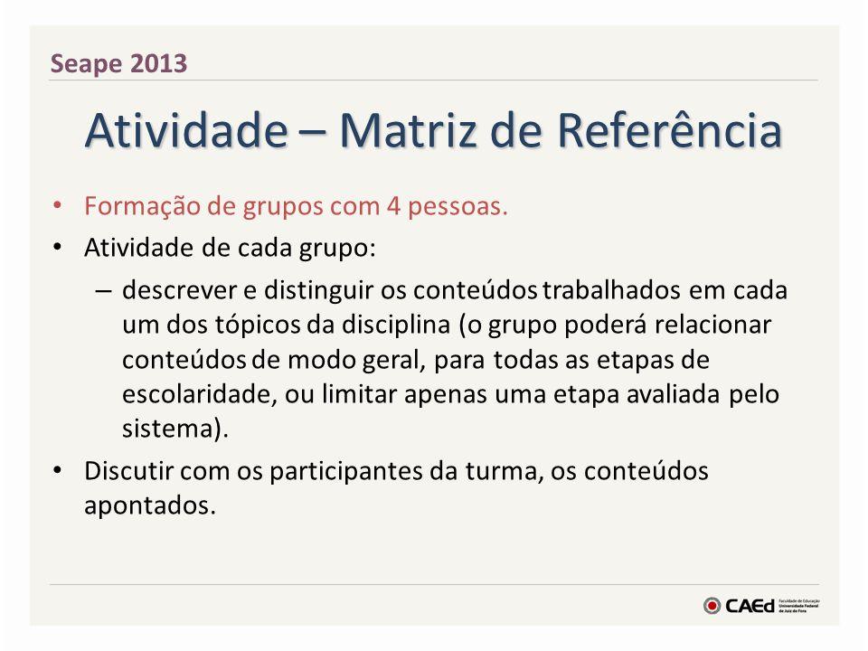 Atividade – Matriz de Referência Cada grupo ficará responsável por um tópico da disciplina; dividir os tópicos entre os grupos, sendo que pelo número de grupos, possivelmente, os tópicos serão repetidos).