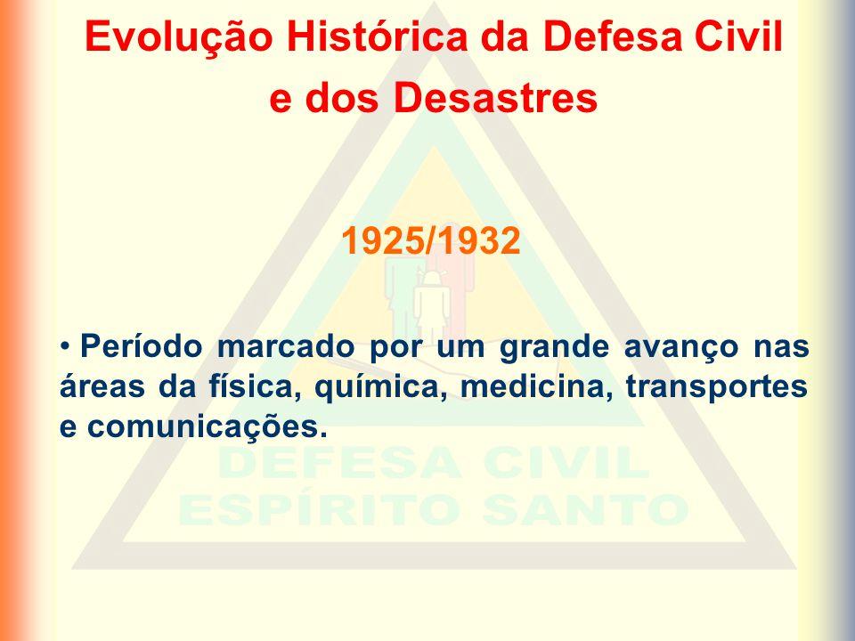 Evolução Histórica da Defesa Civil e dos Desastres Período marcado por um grande avanço nas áreas da física, química, medicina, transportes e comunicações.