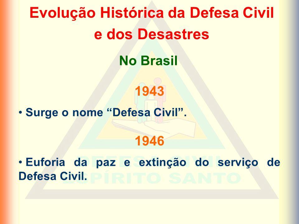 Evolução Histórica da Defesa Civil e dos Desastres 1943 Surge o nome Defesa Civil.