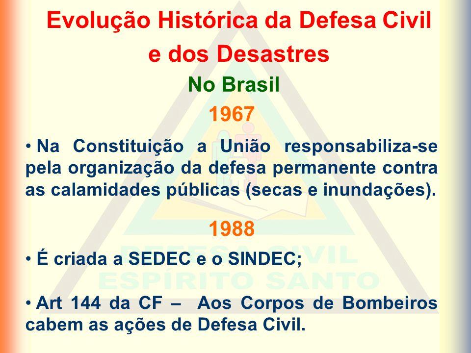 Evolução Histórica da Defesa Civil e dos Desastres 1967 Na Constituição a União responsabiliza-se pela organização da defesa permanente contra as calamidades públicas (secas e inundações).