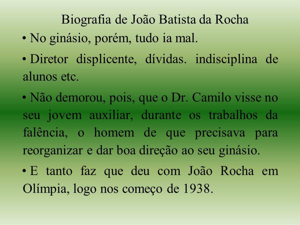 Biografia de João Batista da Rocha No ginásio, porém, tudo ia mal.
