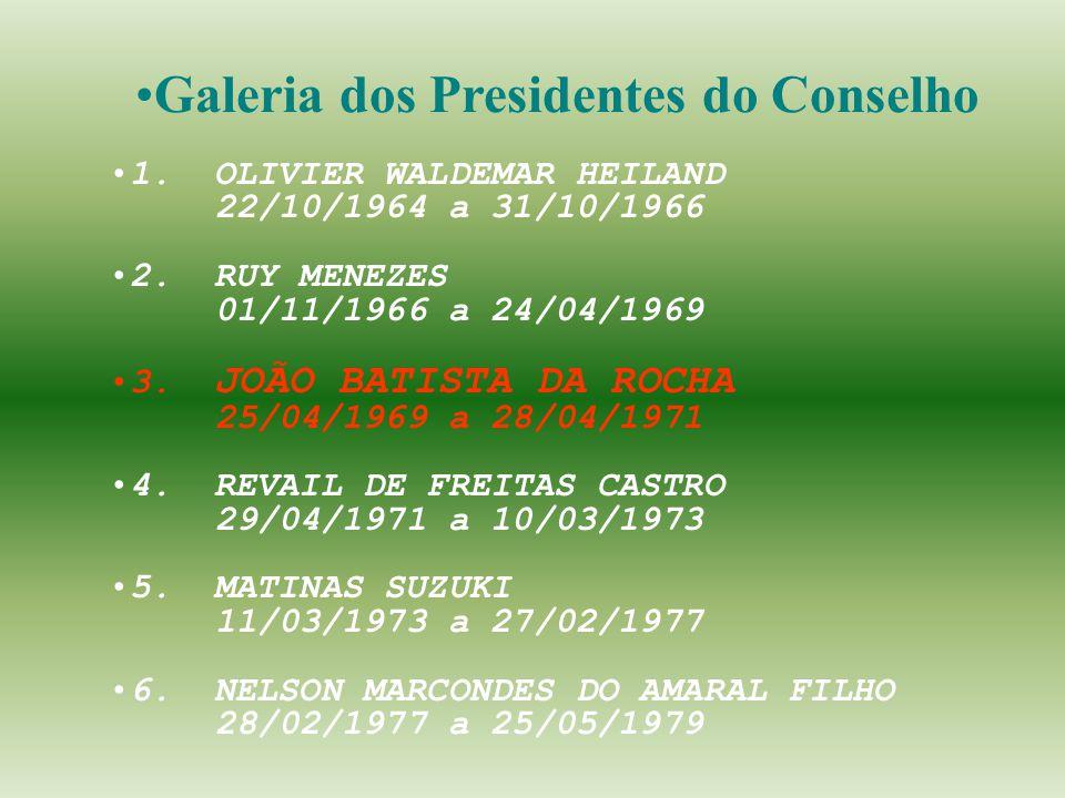 1. OLIVIER WALDEMAR HEILAND 22/10/1964 a 31/10/1966 2. RUY MENEZES 01/11/1966 a 24/04/1969 3. JOÃO BATISTA DA ROCHA 25/04/1969 a 28/04/1971 4. REVAIL